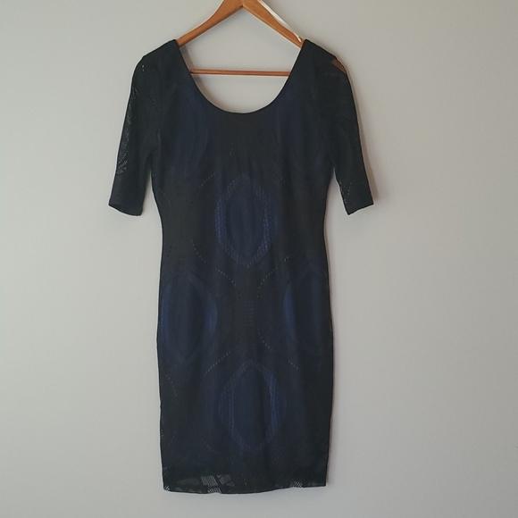 Pink Owl Blue & Black Short Sleeve Lace Dress